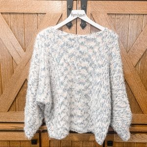 JOA White Fuzzy Speckled Sweater | Size M